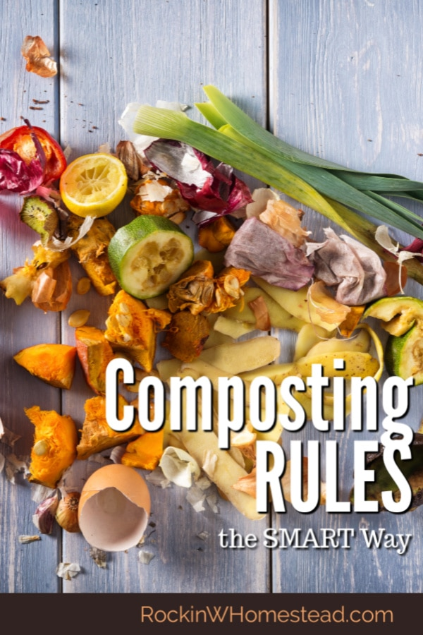 kitchen scraps on a board with the text overlay composting rules