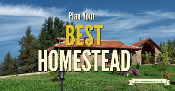 A homestead yard with the text overlay Plan Your Best Homestead