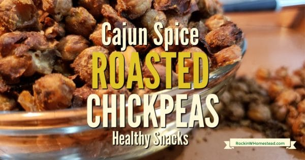 Cajun Spice Roasted Chickpeas are a healthy snack alternative to processed foods. You won't feel the least bit guilty about eating them.