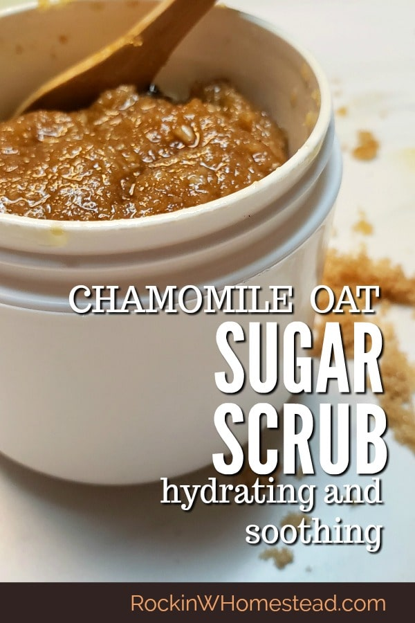 Sugar scrubs are excellent for gently cleansing your skin. This calming chamomile oat sugar scrub blend is hydrating and soothing at the same time