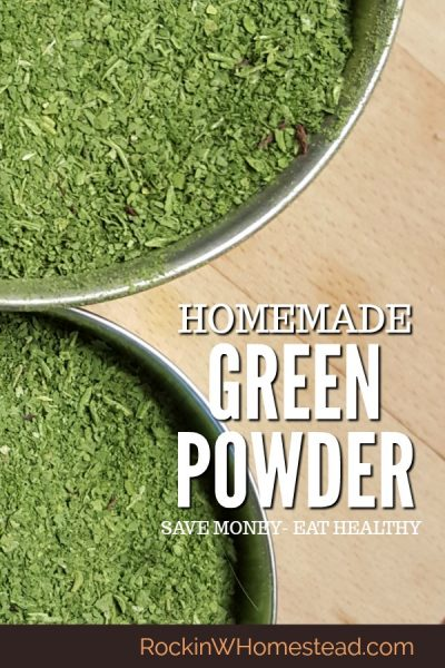 Making your own homemade green powder is the best way to you use your excess harvest and eat healthy greens all year long. They're easy to make and cost saving too. Don't have extra greens from the garden? Take advantage of sales at the local grocery | Rockin W Homestead
