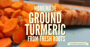 Use fresh, organic turmeric rhizomes to make homemade ground turmeric powder. Organic is absolutely essential if you are planning on using turmeric for its health-promoting herbal properties | Rockin W Homestead