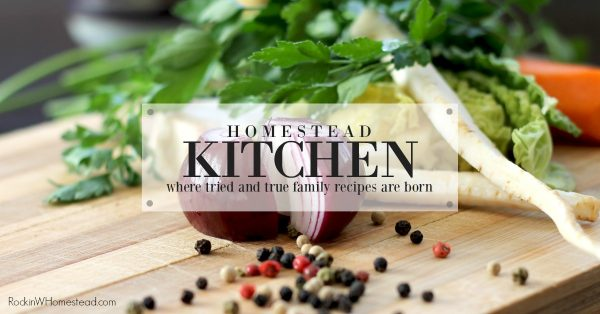 The kitchen is the center of the homestead and the place where all the hard work of growing fruit and vegetables, raising animals for meat, and harvesting eggs come together in the form of preserving the harvest.
