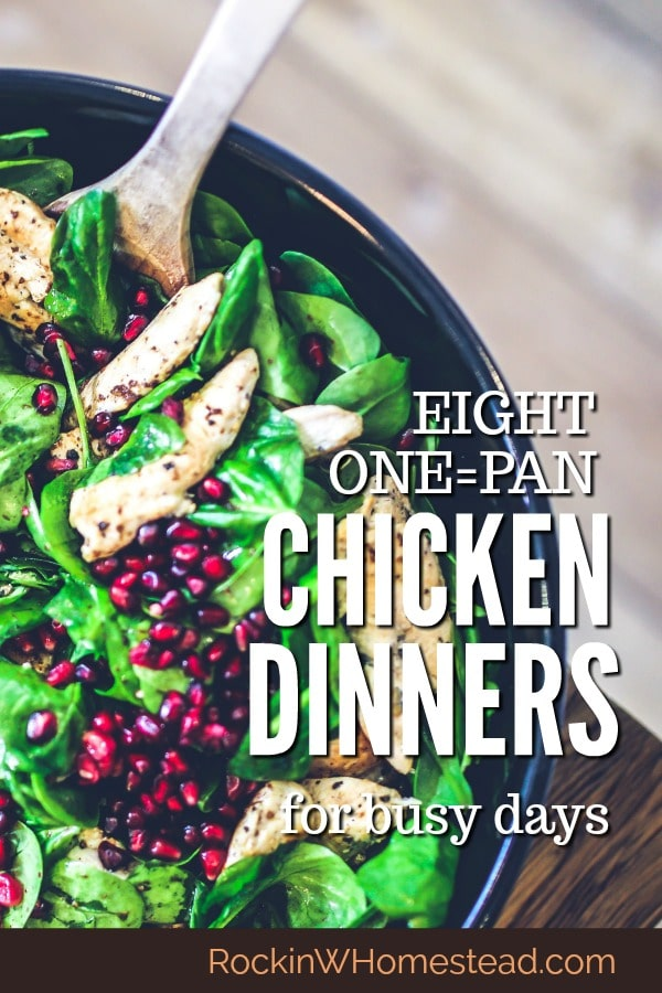 One-pan chicken dinners are perfect or busy days when you don'thave a lot of time to spend in the kitchen. Chicken is versatile and one-pot cooking means easy cleanup.