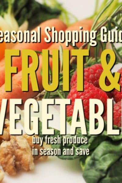 fresh fruit and vegetables with the text overlay: The seasonal fruit & vegetable shopping guide