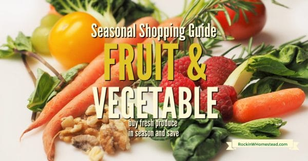 fresh fruit and vegetables with the text overlay: The seasonal fruit and vegetable shopping guide