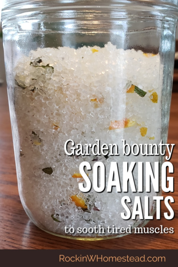 orange, mint and epsom salts in a jar
