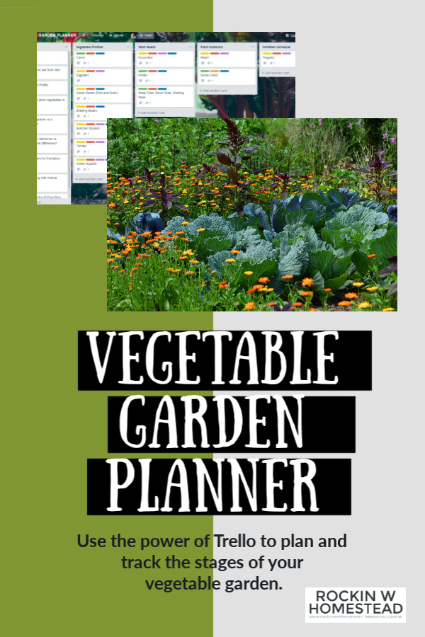 vegetable garden with Trello board graphic and text overpay that reads vegetable garden planner