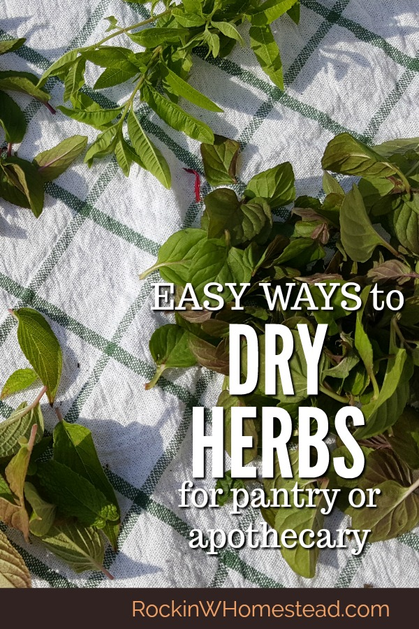 Herbs are garden favorites and are used for many culinary and medicinal purposes. When you have a stock of your own dried herbs on hand cooking, and herbal preparations become easier. These three easy ways to dry herbs will get you started on preserving your herb harvest | Rockin W Homestead
